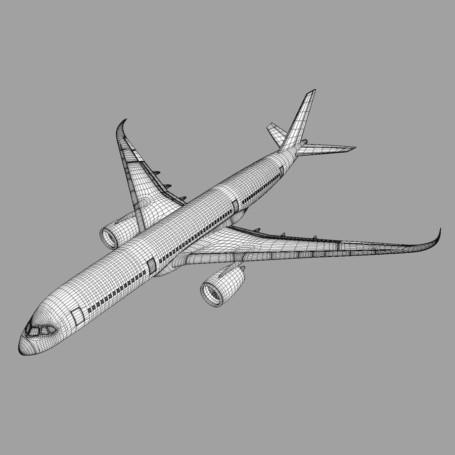 A350 Airbus Zniżka cenowa. royalty-free 3d model - Preview no. 8