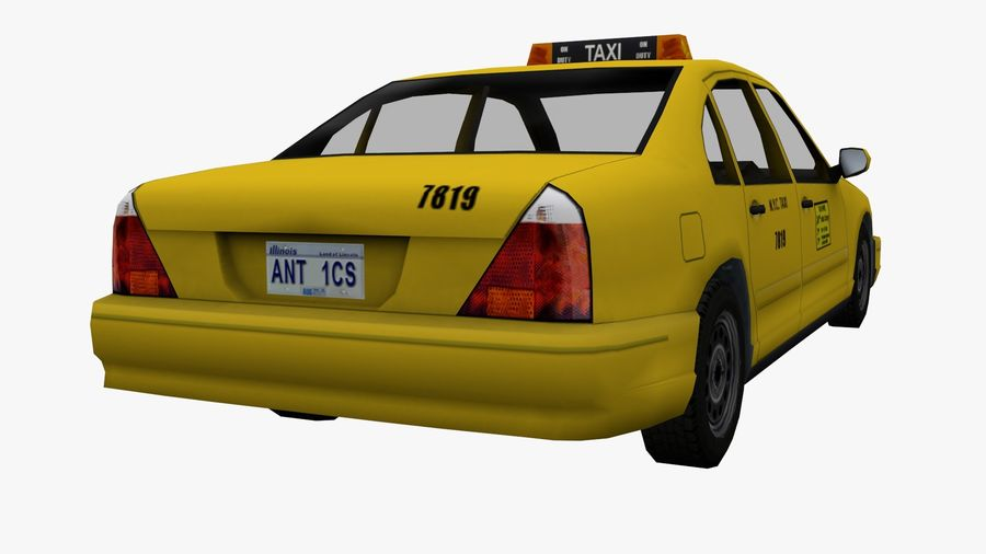 US Taxi Low Poly Car royalty-free modelo 3d - Preview no. 5