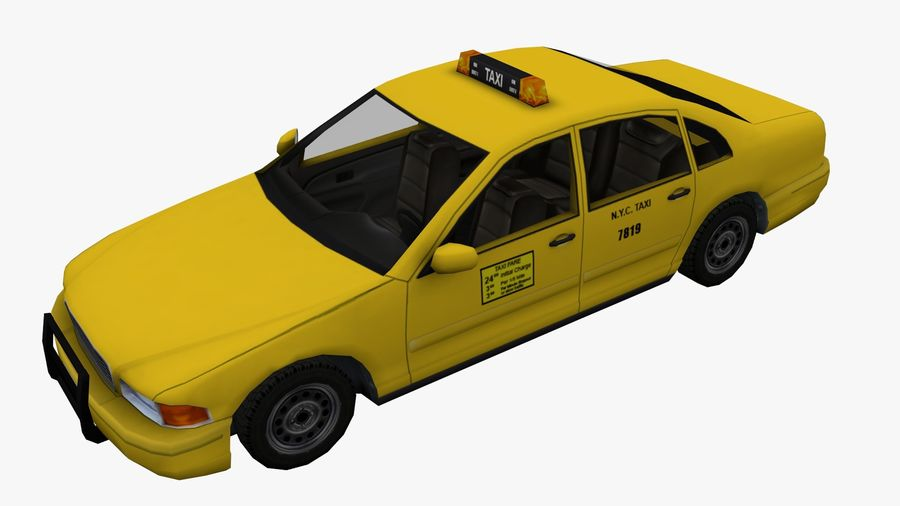 US Taxi low poly car royalty-free 3d model - Preview no. 6