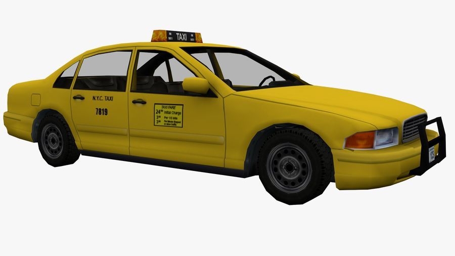 US Taxi Low Poly Car royalty-free modelo 3d - Preview no. 3