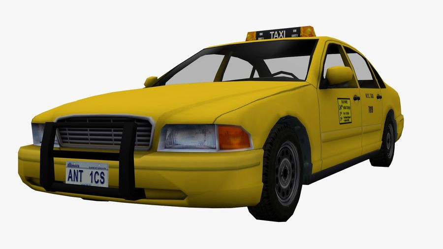 US Taxi Low Poly Car royalty-free modelo 3d - Preview no. 4