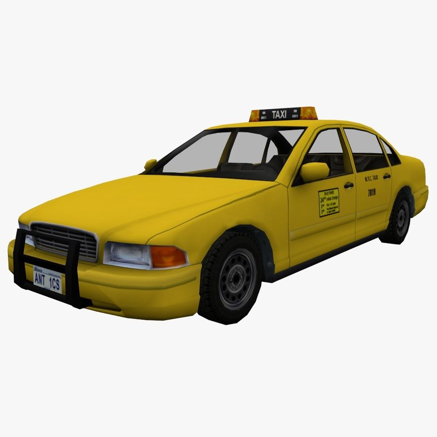 US Taxi low poly car royalty-free 3d model - Preview no. 1