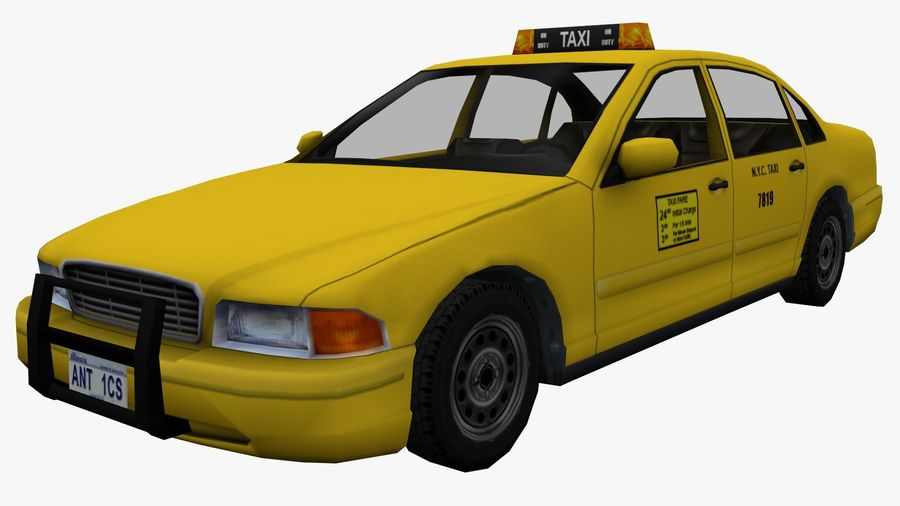 US Taxi low poly car royalty-free 3d model - Preview no. 2