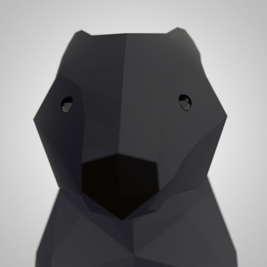 Mishka Düşük Poli Bear royalty-free 3d model - Preview no. 3