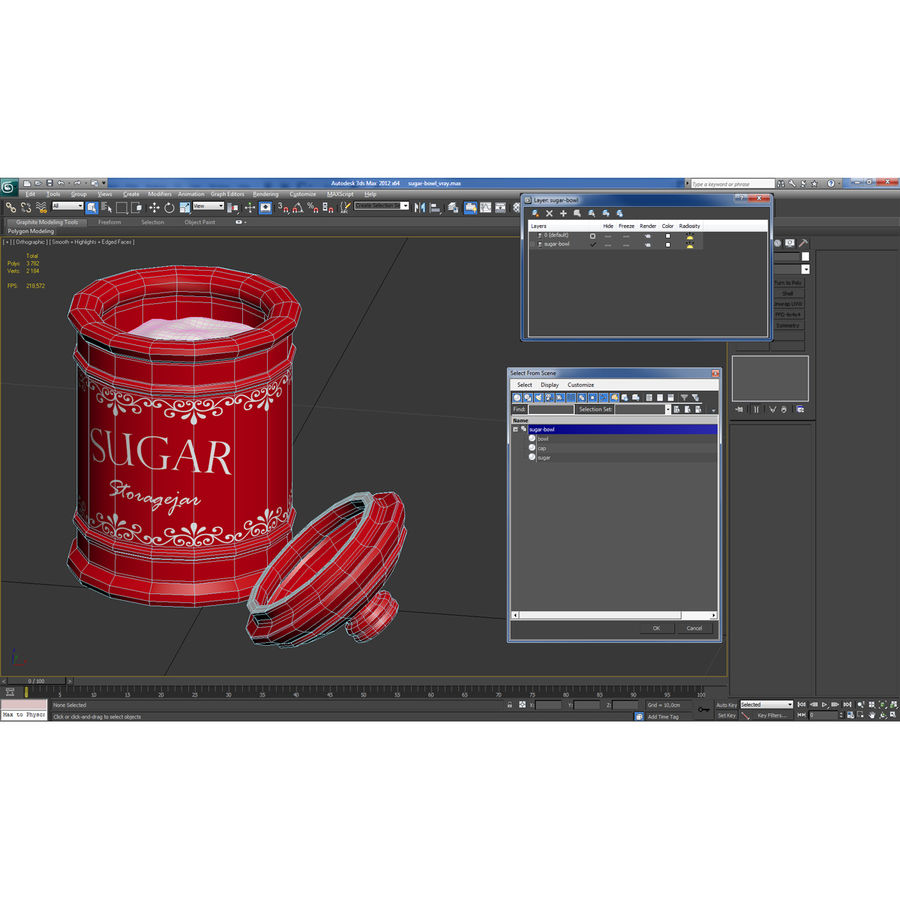 sugar bowl royalty-free 3d model - Preview no. 20