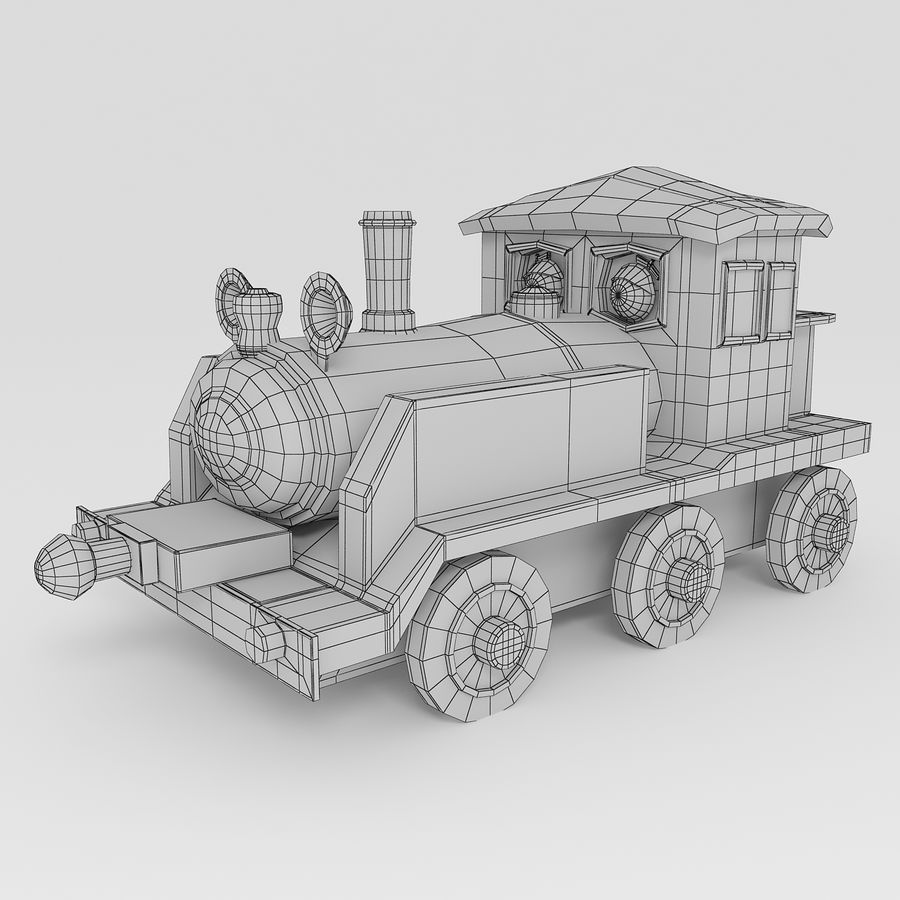 Toy Locomotive royalty-free 3d model - Preview no. 7