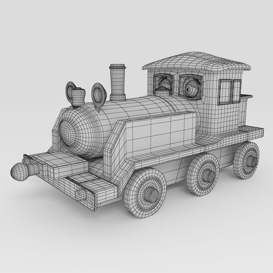 Toy Locomotive royalty-free 3d model - Preview no. 8