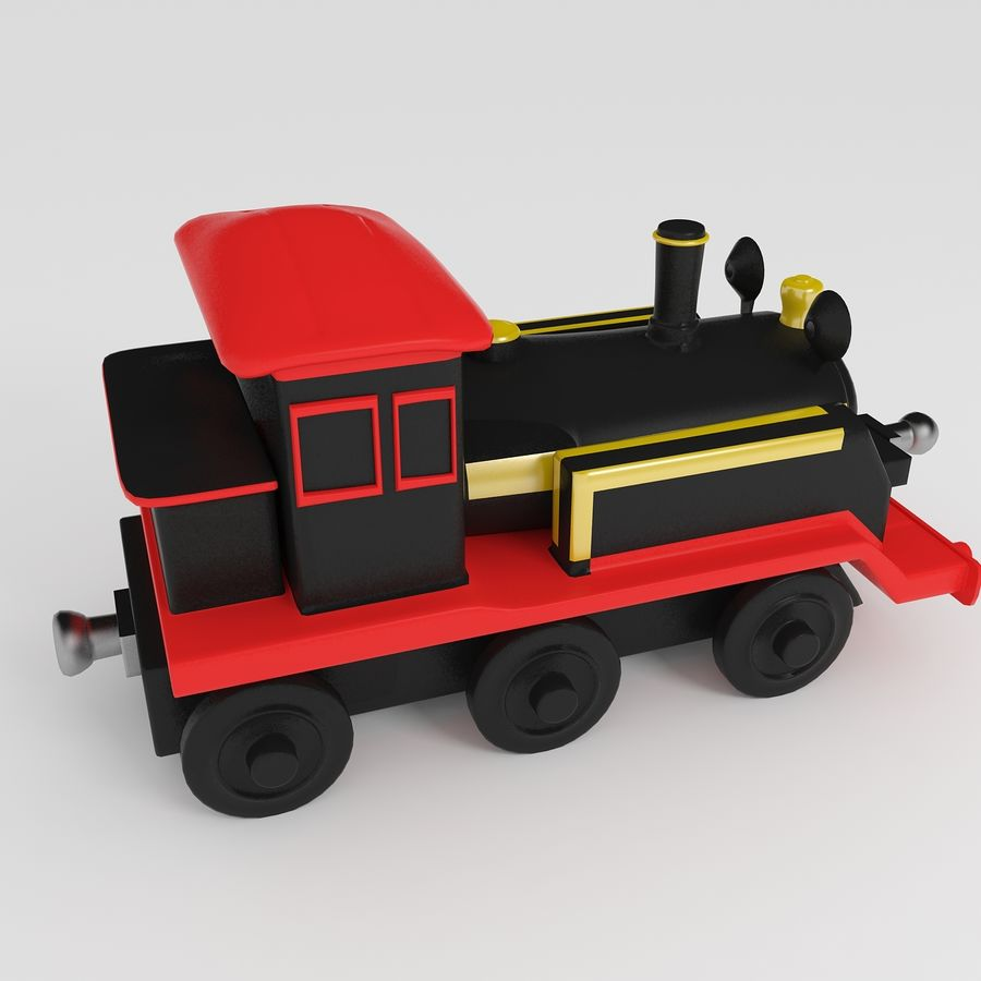 Toy Locomotive royalty-free 3d model - Preview no. 3