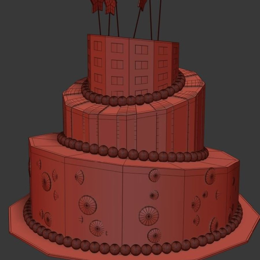 Party Cake royalty-free 3d model - Preview no. 8