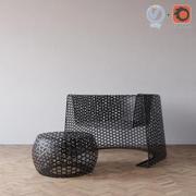 Woven Black Lace chair & ottoman 3d model