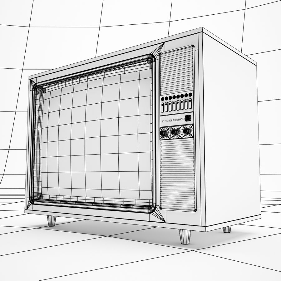 retro tv royalty-free 3d model - Preview no. 7