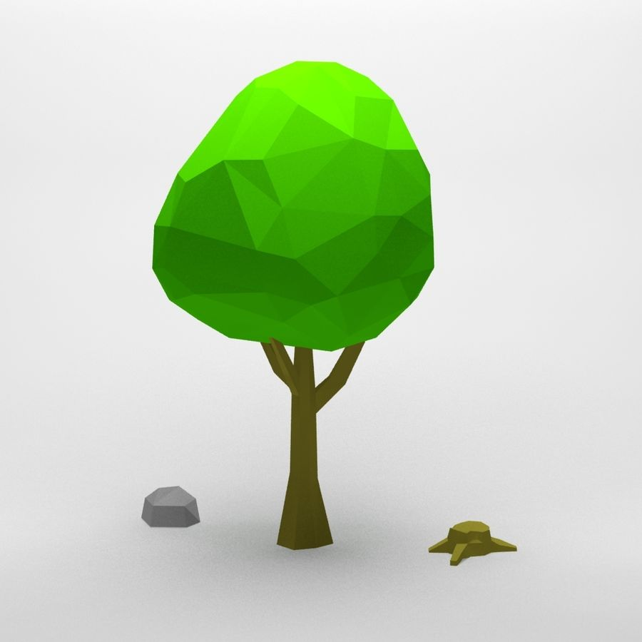 Cartoon low poly tree royalty-free 3d model - Preview no. 5
