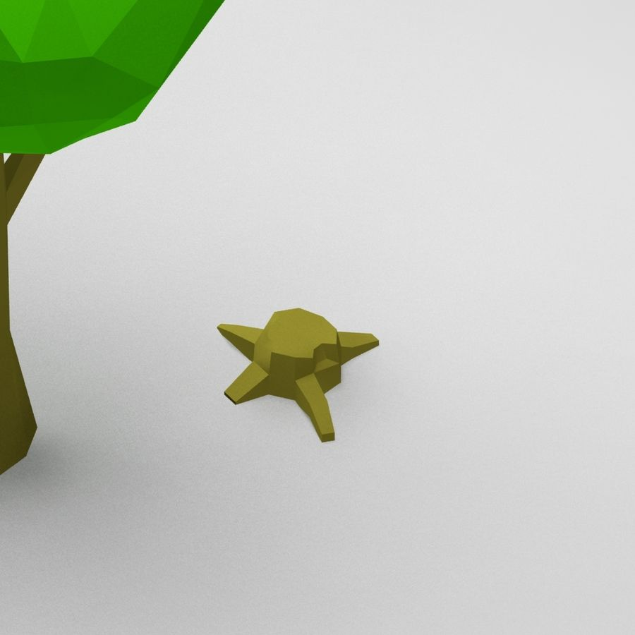 Cartoon low poly tree royalty-free 3d model - Preview no. 4