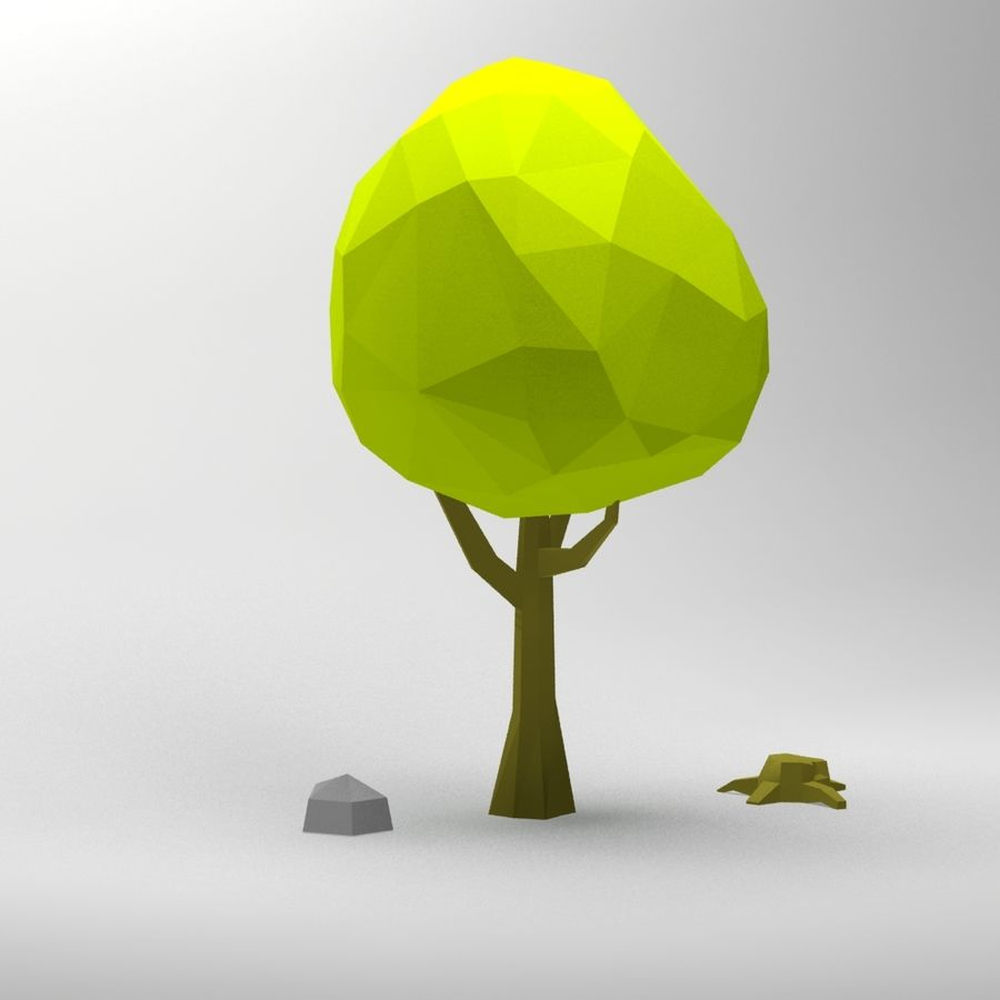Cartoon low poly tree royalty-free 3d model - Preview no. 2