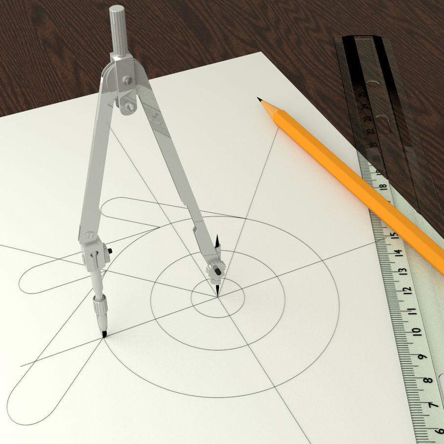 Compasses royalty-free 3d model - Preview no. 2