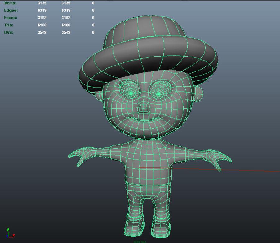 Ragazzo dei cartoni animati royalty-free 3d model - Preview no. 8