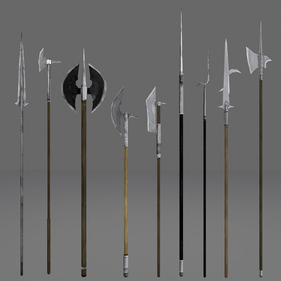 Medieval Polearm Collection 1 - Low Poly Weapons Axe Sword royalty-free 3d model - Preview no. 2
