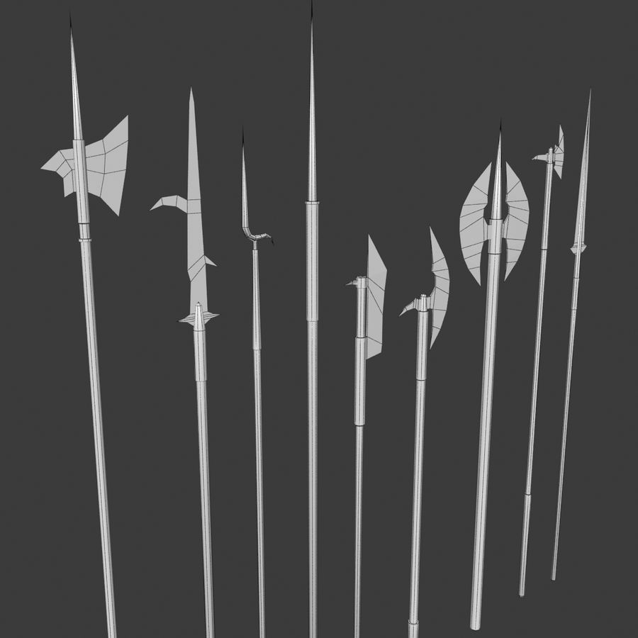 Medieval Polearm Collection 1 - Low Poly Weapons Axe Sword royalty-free 3d model - Preview no. 7