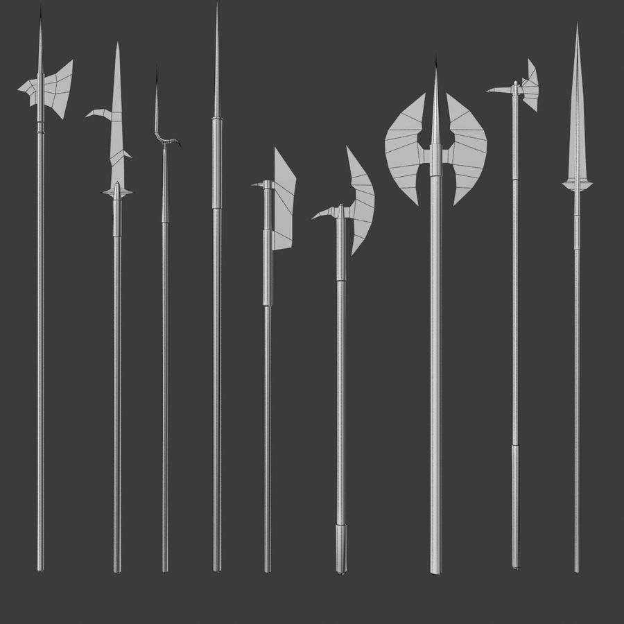 Medieval Polearm Collection 1 - Low Poly Weapons Axe Sword royalty-free 3d model - Preview no. 6