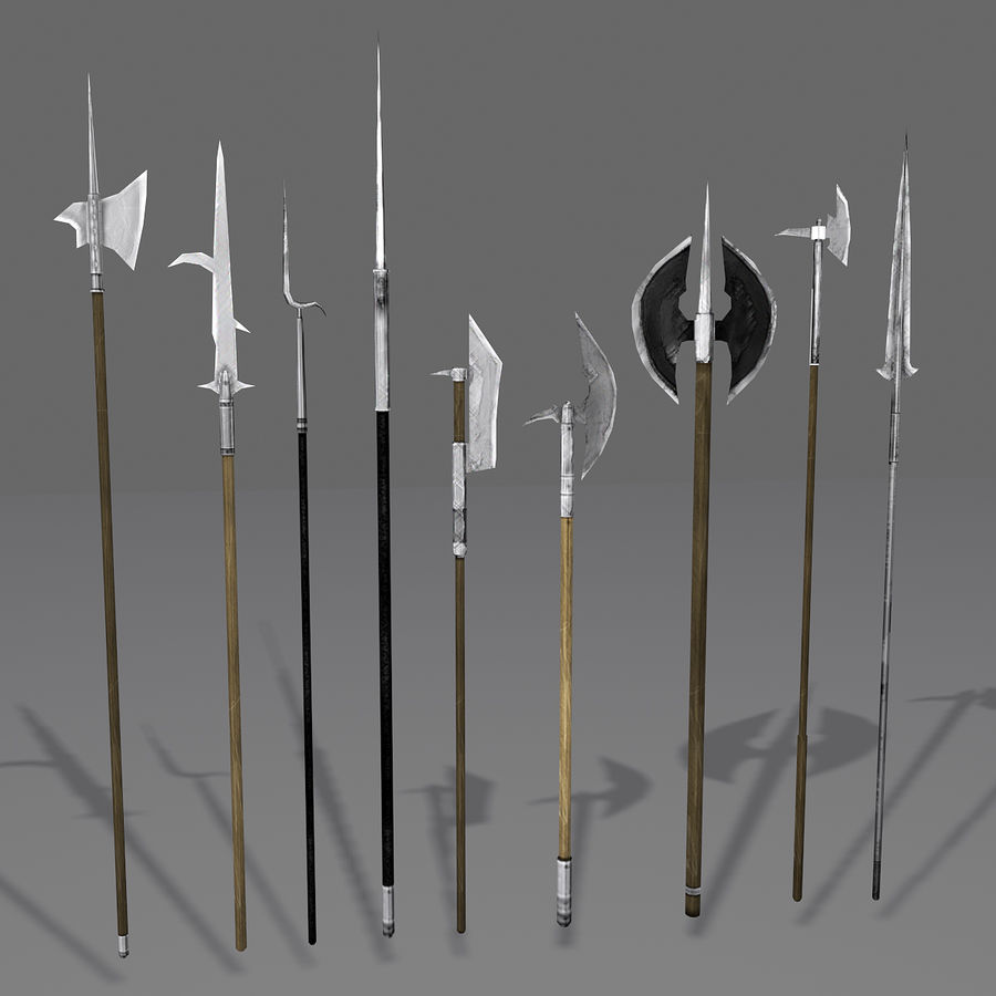 Medieval Polearm Collection 1 - Low Poly Weapons Axe Sword royalty-free 3d model - Preview no. 1
