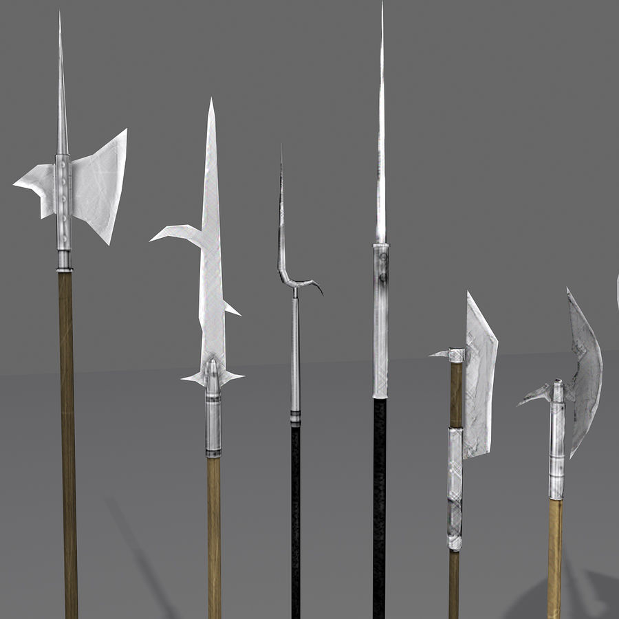 Medieval Polearm Collection 1 - Low Poly Weapons Axe Sword royalty-free 3d model - Preview no. 3