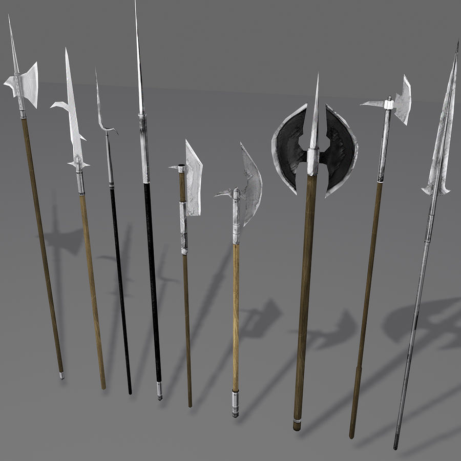 Medieval Polearm Collection 1 - Low Poly Weapons Axe Sword royalty-free 3d model - Preview no. 5