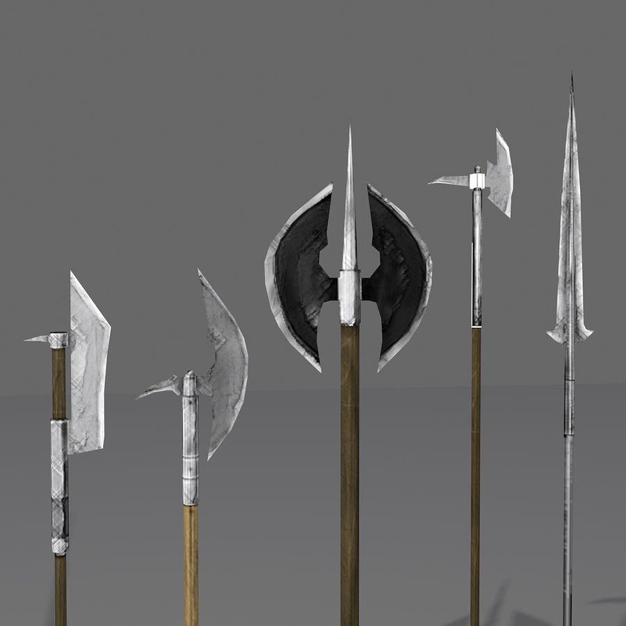 Medieval Polearm Collection 1 - Low Poly Weapons Axe Sword royalty-free 3d model - Preview no. 4