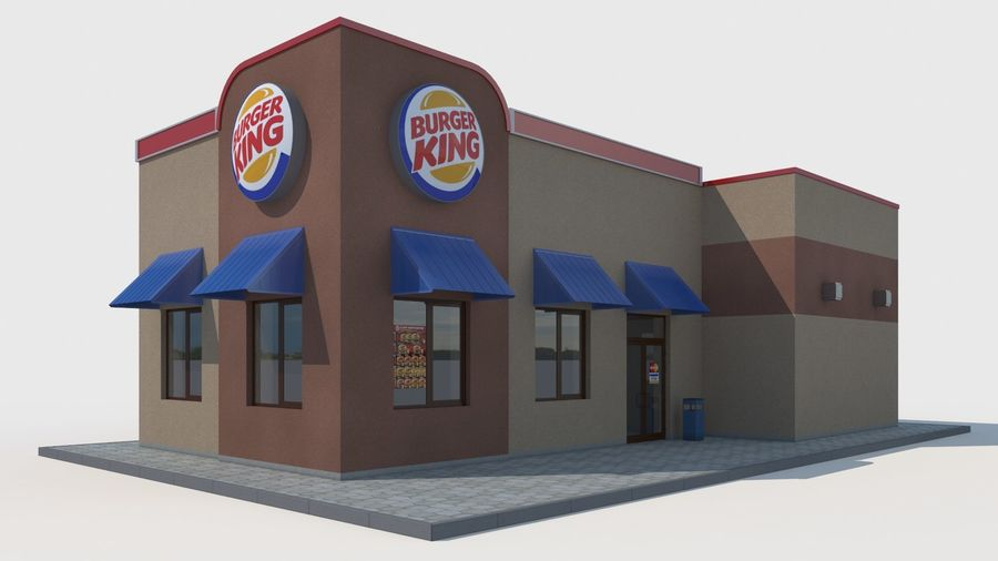 Burger king restaurant royalty-free 3d model - Preview no. 1