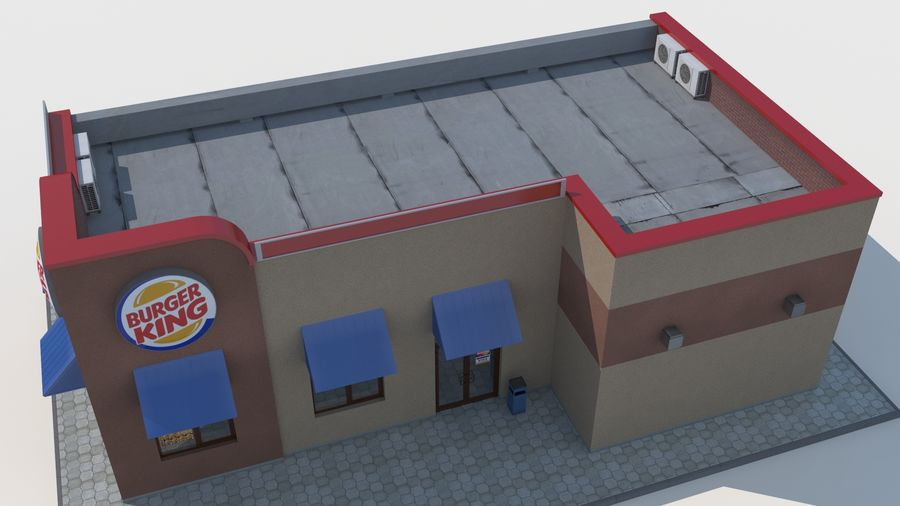 Burger king restaurant royalty-free 3d model - Preview no. 4