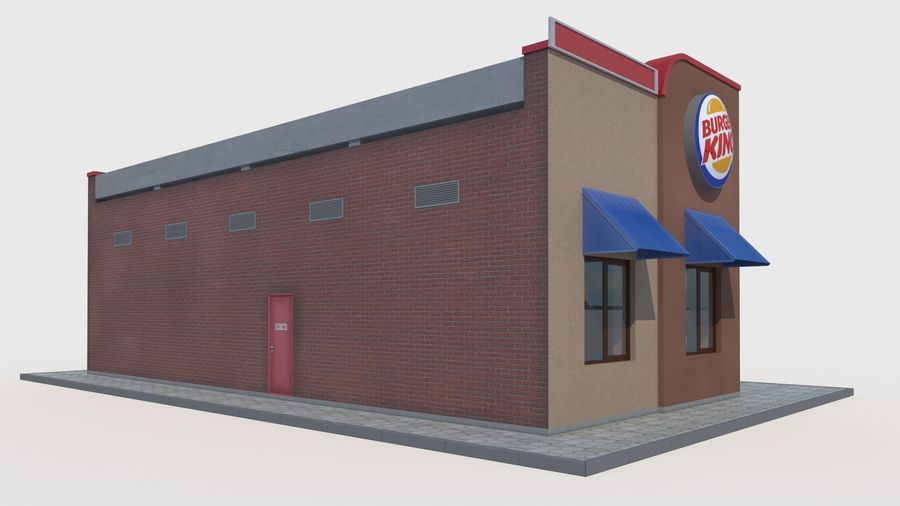 Burger king restaurant royalty-free 3d model - Preview no. 3
