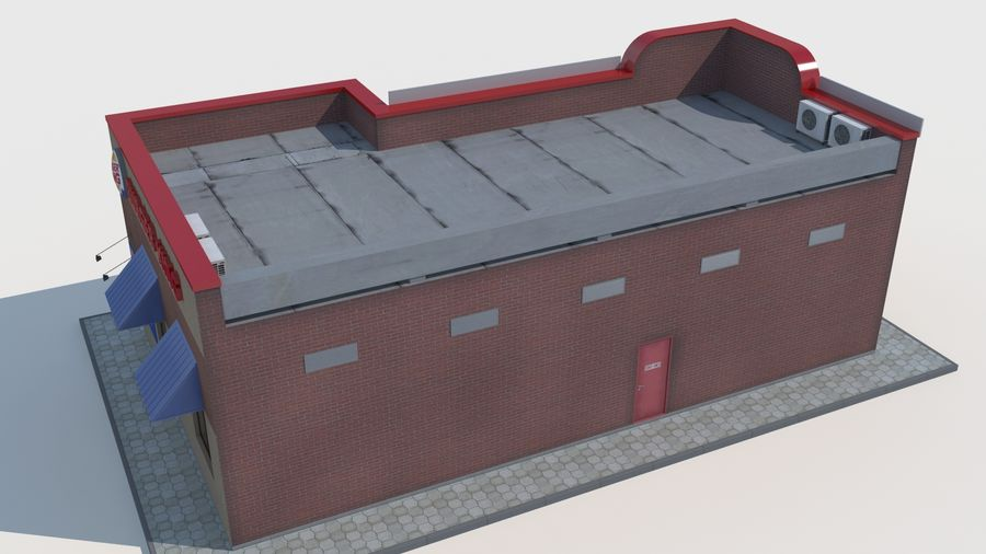 Burger king restaurant royalty-free 3d model - Preview no. 5