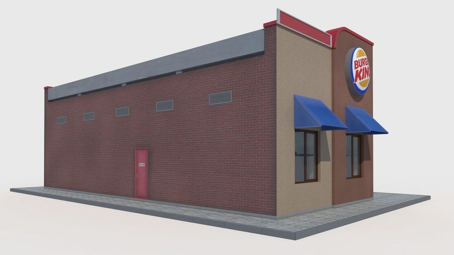 Burger king restaurant royalty-free 3d model - Preview no. 3