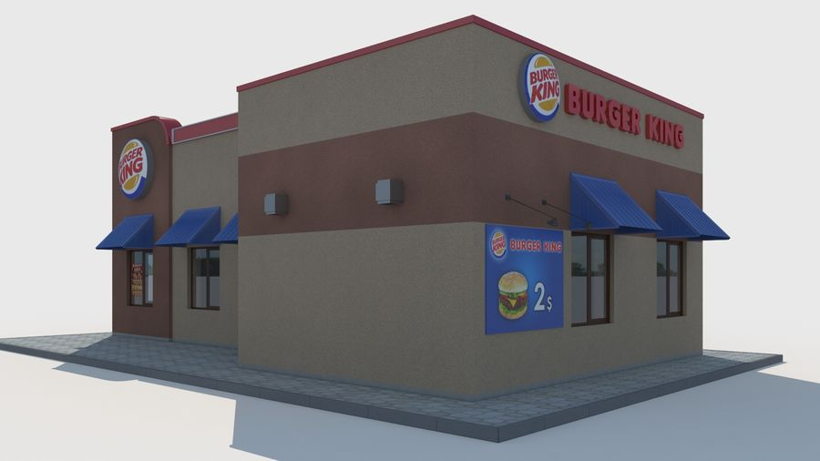 Burger king restaurant royalty-free 3d model - Preview no. 2