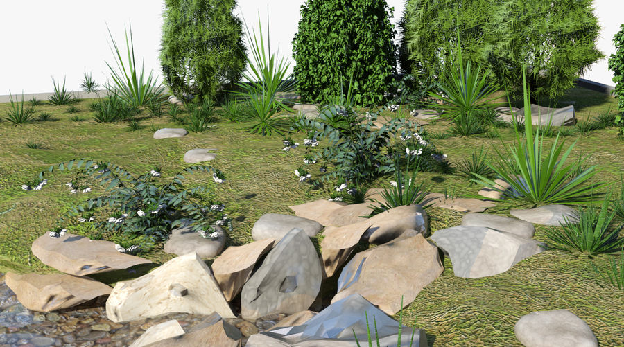landscape with a pond royalty-free 3d model - Preview no. 6