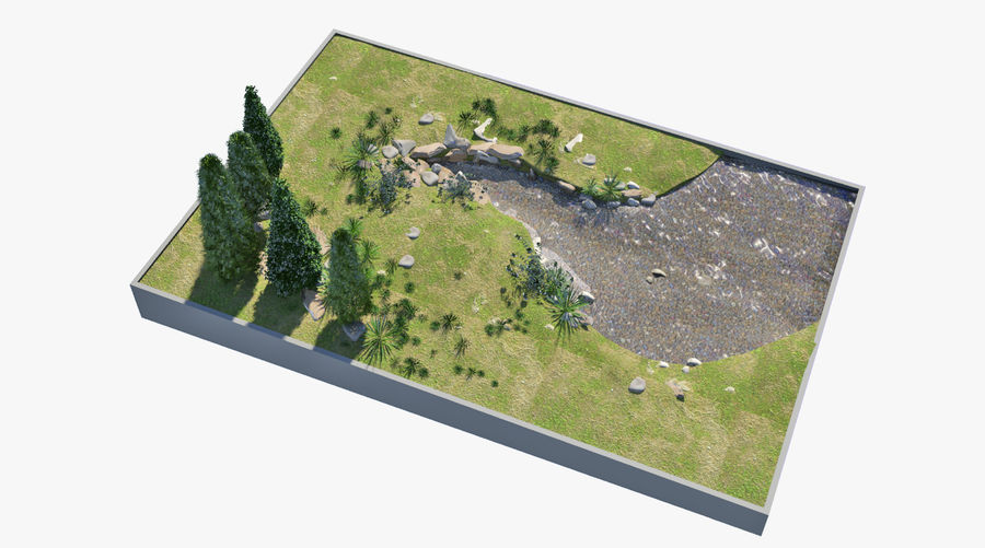 landscape with a pond royalty-free 3d model - Preview no. 3