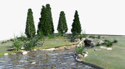 landscape with a pond 3d model