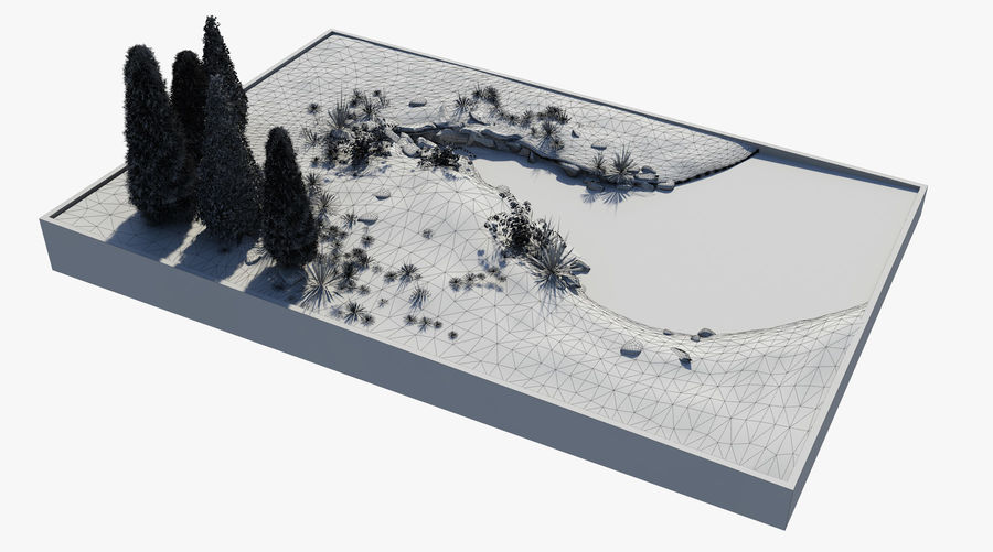 landscape with a pond royalty-free 3d model - Preview no. 8