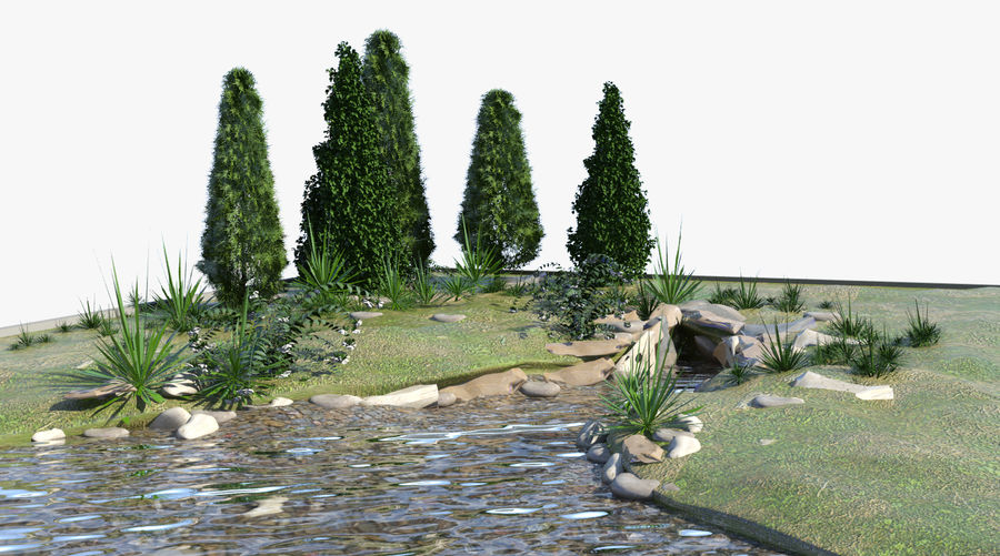 landscape with a pond royalty-free 3d model - Preview no. 1
