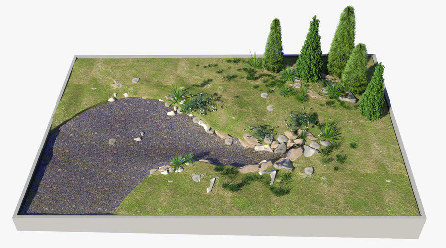 landscape with a pond royalty-free 3d model - Preview no. 4