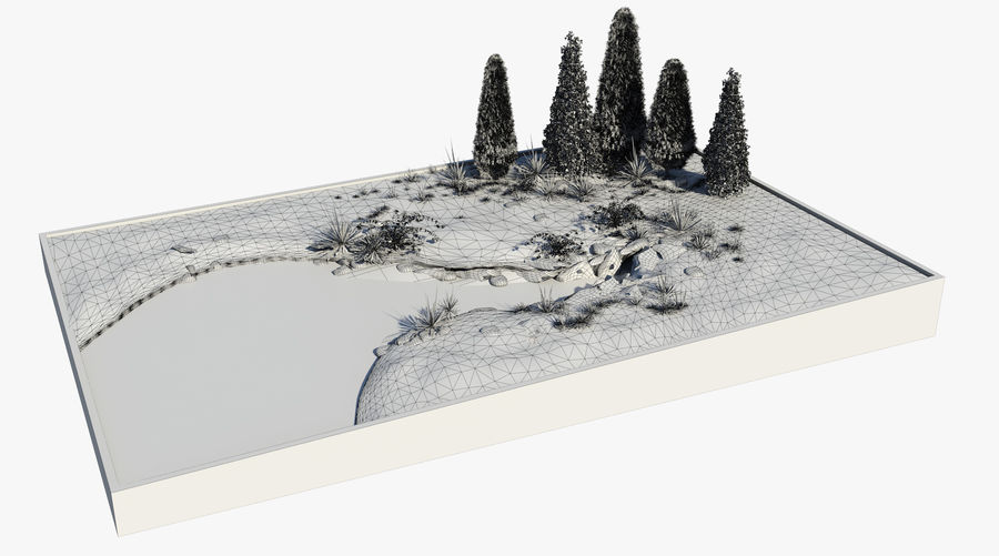 landscape with a pond royalty-free 3d model - Preview no. 7