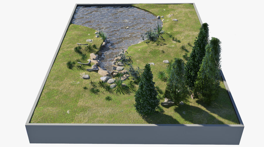 landscape with a pond royalty-free 3d model - Preview no. 5