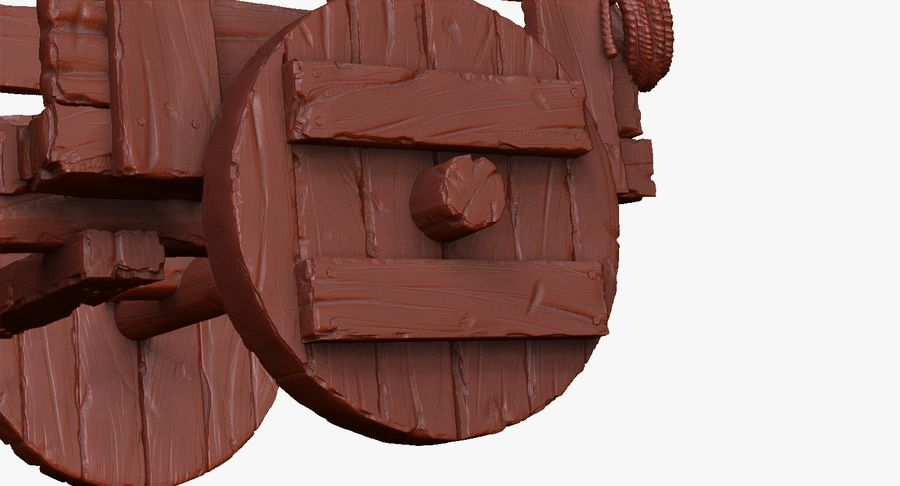Wooden Cart Zbrush Sculpt royalty-free 3d model - Preview no. 30