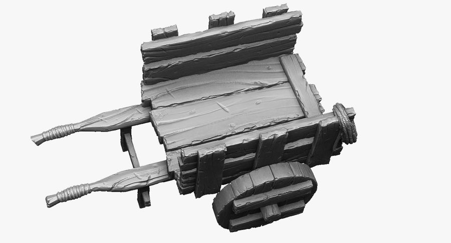 Wooden Cart Zbrush Sculpt royalty-free 3d model - Preview no. 4