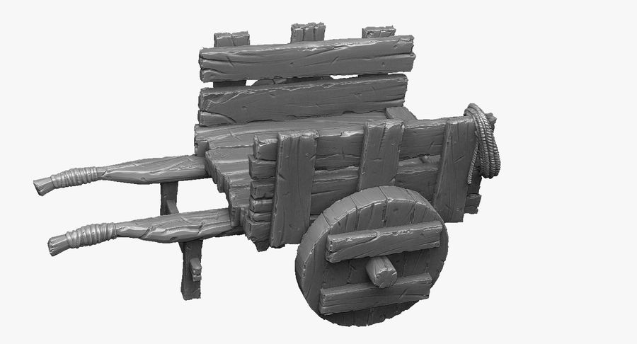 Wooden Cart Zbrush Sculpt royalty-free 3d model - Preview no. 3