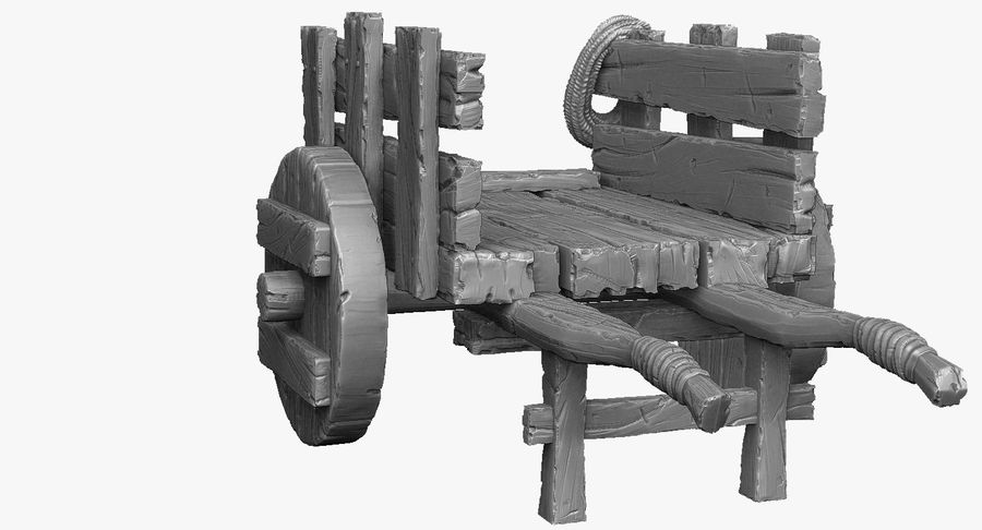 Wooden Cart Zbrush Sculpt royalty-free 3d model - Preview no. 27