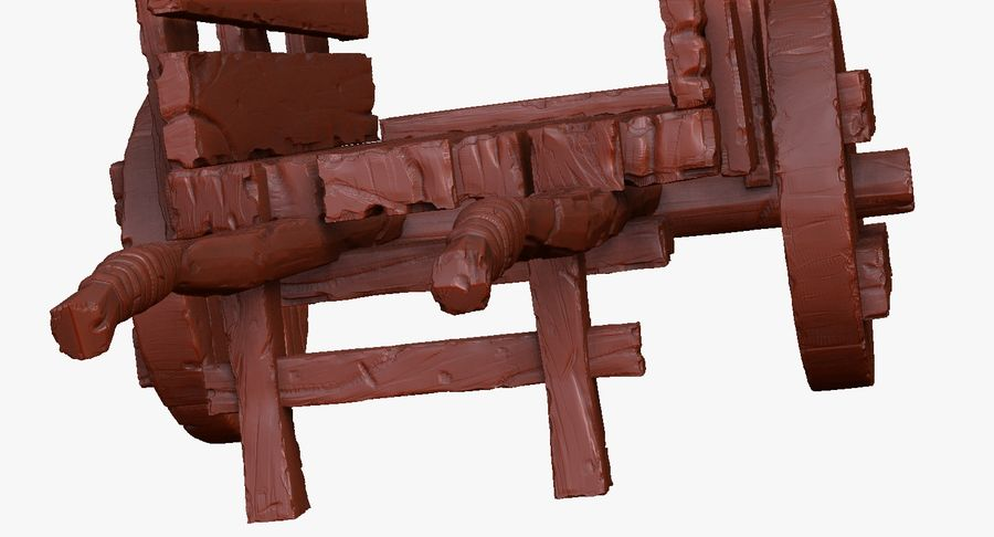 Wooden Cart Zbrush Sculpt royalty-free 3d model - Preview no. 31
