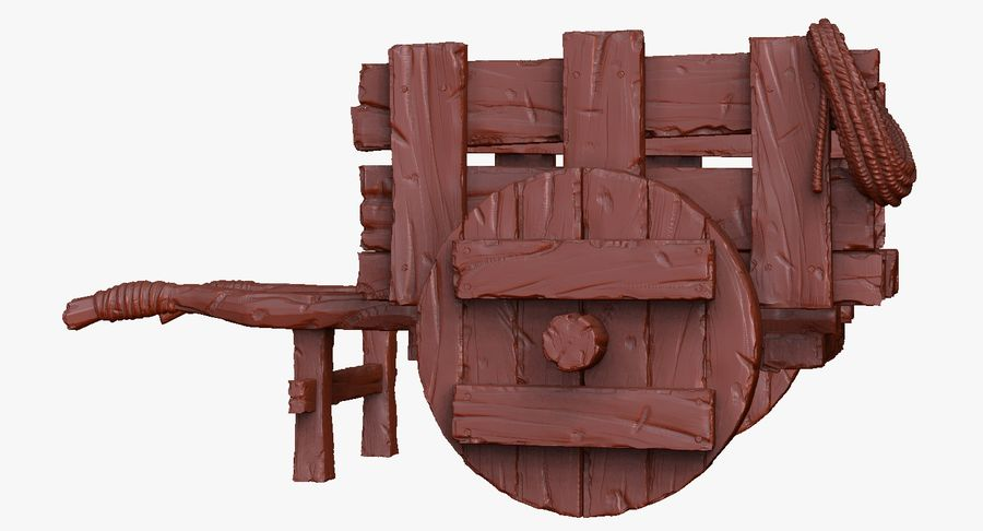 Wooden Cart Zbrush Sculpt royalty-free 3d model - Preview no. 34