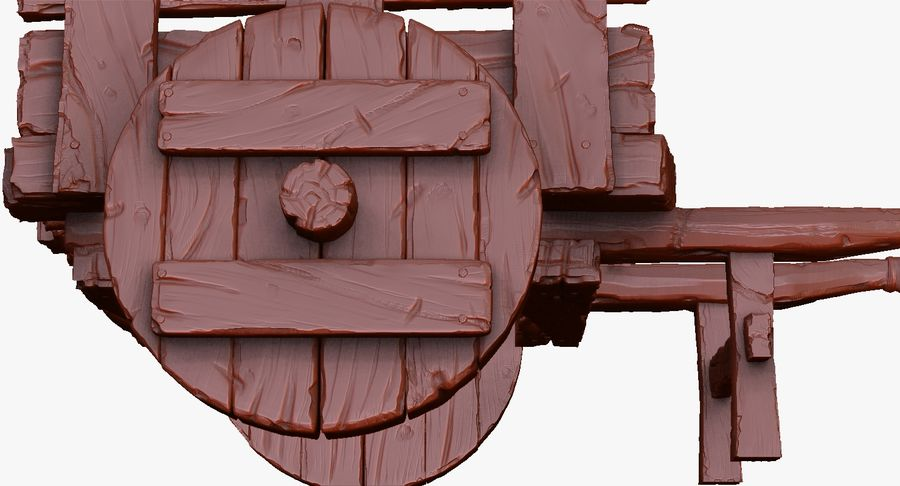 Wooden Cart Zbrush Sculpt royalty-free 3d model - Preview no. 36