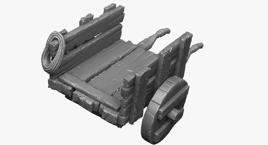 Wooden Cart Zbrush Sculpt royalty-free 3d model - Preview no. 7