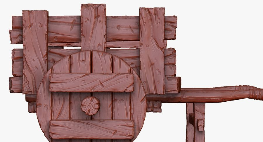 Wooden Cart Zbrush Sculpt royalty-free 3d model - Preview no. 35